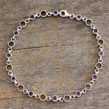 amethyst anklet elegant simplicity fair trade jewelry amethyst sterling silver anklet