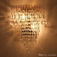 2019 classic crystal chandelier wall light gold crystalline wall sconce lamp led foyer living room bedside glass crystal wall lamp from wuzhangtsai