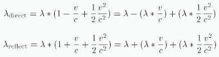 doppler effect equation signs. note that now there\u0027s a second term in the expression, one which predicts small increase wavelength for both direct and reflected rays. doppler effect equation signs