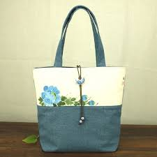 chinese painting series women linen canvas tote bag flower hand painted las soft big pers ping