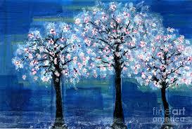 cherry tree painting three cherry trees at night by natalie singer