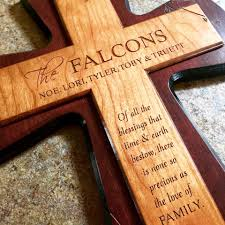 wooden cross with personalized engraving