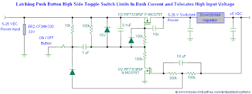 push button on off soft latch circuits battery powered touch schematic of an in rush current limited on off toggle switch circuit controls higher