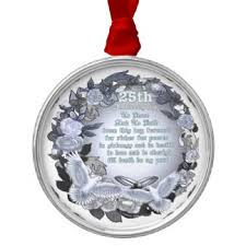 25th wedding anniversary ornament. silver wedding anniversary premium round ornament 25th
