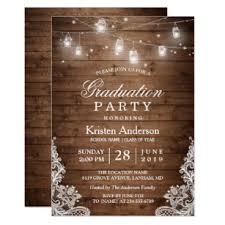 Senior Party Invitations Rustic Wood Lace String Lights Graduation Party Invitation