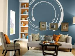 A Unique Blue Wall Paint With White Circle For Terrific Living Room With  Grey Sofa And