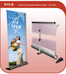 Retractable Display Stands 100 inch wide Retractable Mercury Banner Display Stand 77
