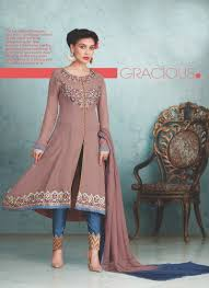 Front Open Salwar Neck Designs Specialized Brown Georgette Designer Front Open Salwar Suit