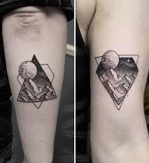 Originální Párové Tetování Jako Forma Umění Grafické Kreslení