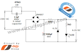 transformer less ac to dc power supply circuit using dropping circuit diagram