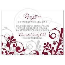 wedding reception card burgundy gray abstract floral wedding reception card