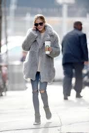 olivia palermo wearing a grey fur coat 08
