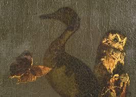 iGavel Auctions: Priscilla Warren Roberts (American, 1916-2001),  oil/masonite, Duck, owl, butterfly still life R8RA6