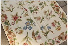 needlepoint rose fl rug cream