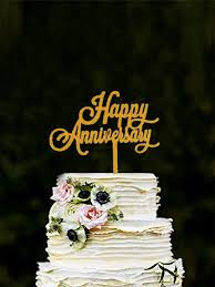 Happy Anniversary Cake Topper Gold Color Acrylic Cake Decor For