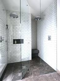 bathroom white subway tile with dark floor. White Subway Tile Alcove Shower Contemporary And Idea In With . Bathroom Dark Floor