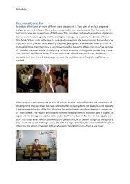 film analysis essay film analysis essay beth melia how to analyse a film to analyse a film there are many different ways