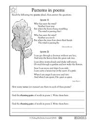 Poem Patterns Beauteous 48rd Grade Reading Worksheets Poems Identifying Patterns GreatSchools
