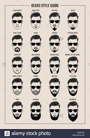 Mustache Styles Chart Hipster Beard And Mustache Style Guide Poster Vector
