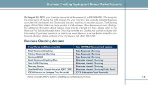 Business Checking Account Comparison Chart Client Welcome Guide Important Information About Your