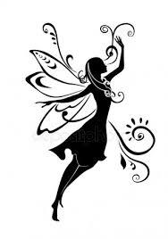妖精のシルエットストックベクターロイヤリティフリー妖精のシルエット