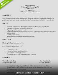 College Graduates Resume How To Write A College Student Resume With Examples