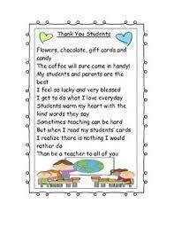 Thank You To Students Poem Classroom Stuff Student Teacher