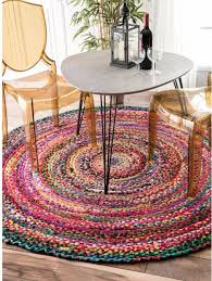 braided cotton rug round 6 ft multicolor handmade area carpet dining room kids