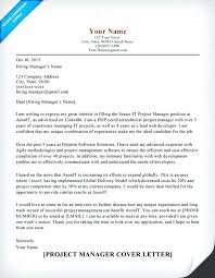 Lead Project Manager Resume Project Manager Cover Letter Sample