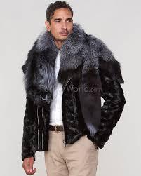 gary mink fur men s biker jacket with fox fur collar