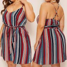 <b>2019</b> Women Plus Size Stripe <b>Print</b> Dress <b>Camis</b> V-Neck Sleeveless ...
