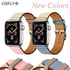leather double tour strap for apple watch hermes band 4 44mm 40mm correa 42mm 38mm watchband wrist for iwatch series 4 3 2 1 malaysia senarai harga 2019