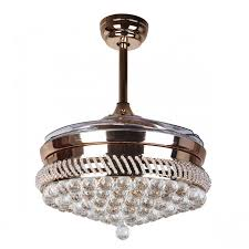 42 inch modern led crystal chandelier ceiling fan with lights and remote invisible retractable blades
