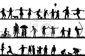 Set Di Sagome Di Bambini Che Giocano Allaperto Carta Da Parati