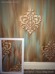 Small Picture Wall Stencil Ornamental Flower Wall Stencil Royal Design