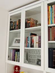 excellent billy bookcase doors 43 version using cut down oxberg glass with added cornice 2