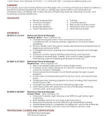 Restaurant Manager Resume Restaurant Manager Resume Objective Free ...