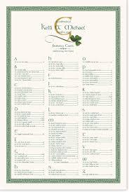 Celtic And Irish Wispy Shamrock Wedding Seating Chart