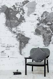 home office world. black and white detailed map mural home office world