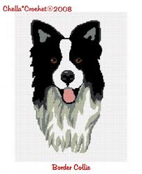 Border Collie Knitting Chart Border Collie Dog Afghan Crochet Pattern Graph