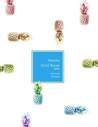 5mm Graph Paper Maths Grid Book Colorful Rainbow Pineapple Fruity Design