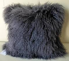dark grey mongolian sheepskin cushion