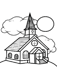 Small Picture Church and Clouds Coloring Page