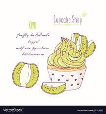 Hand Drawn Kiwi Cupcake Royalty Free Vector Image