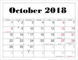 Printable October Calendar Free October 2018 Printable Calendar Blank Templates Calendar Hour