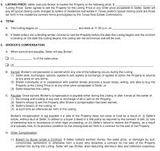 You fill out a form. The Listing Agreement Para 3 4 And 5 Listing Price Term And Commissions