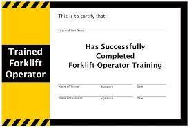 Free Forklift Certificate Template Forklift Certification A Guide To Forklift Training