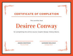 Certificate Of Completeion Customize 268 Completion Certificates Templates Online Canva