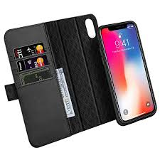 zover compatible with iphone xs x case detachable genuine leather wallet case support wireless charging