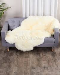 4 pelt eggshell white sheep fur rug quatro